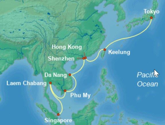 威尼斯号新加坡到东京航行地图