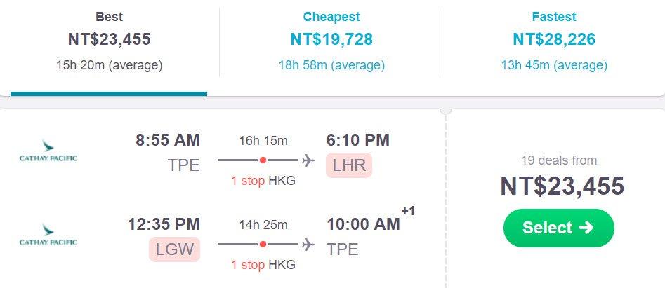 北歐郵輪 - 六月機票價格