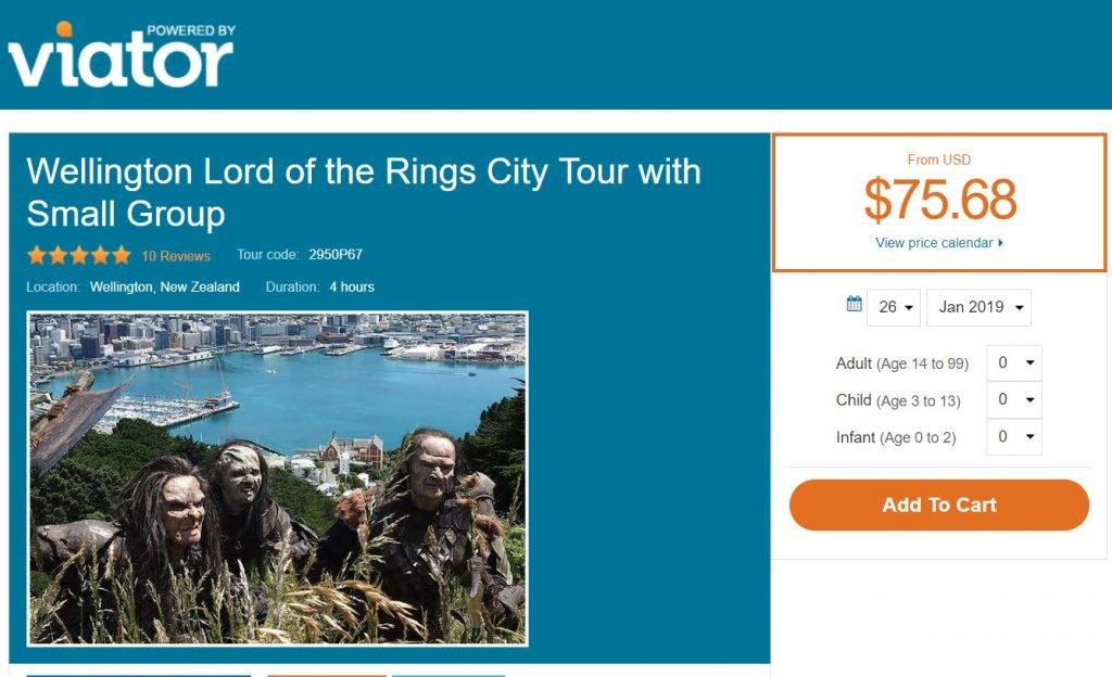 Lord of The Rings 在 Viator平台上的售价