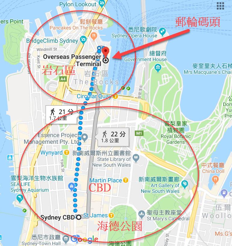 雪梨住宿地图