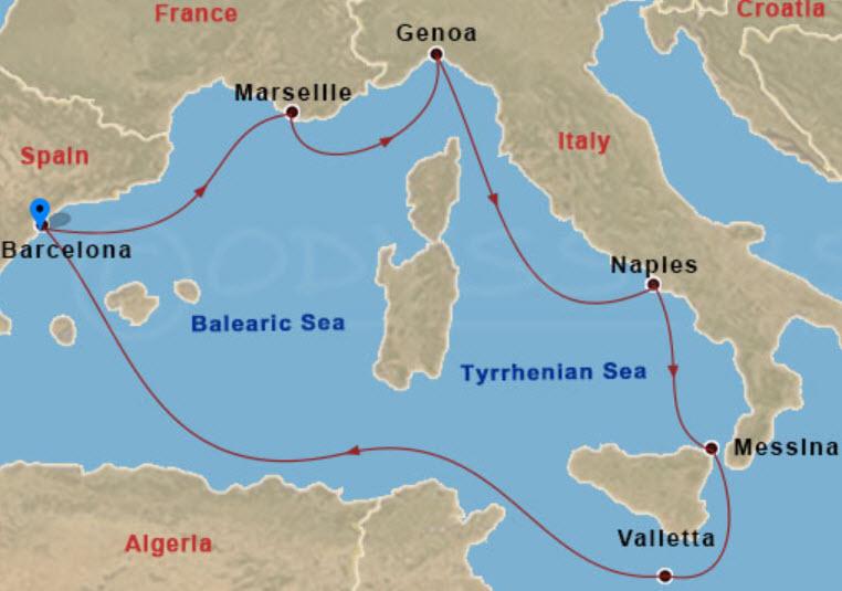 西班牙熟龄游学 - MSC Bellissima 航程图