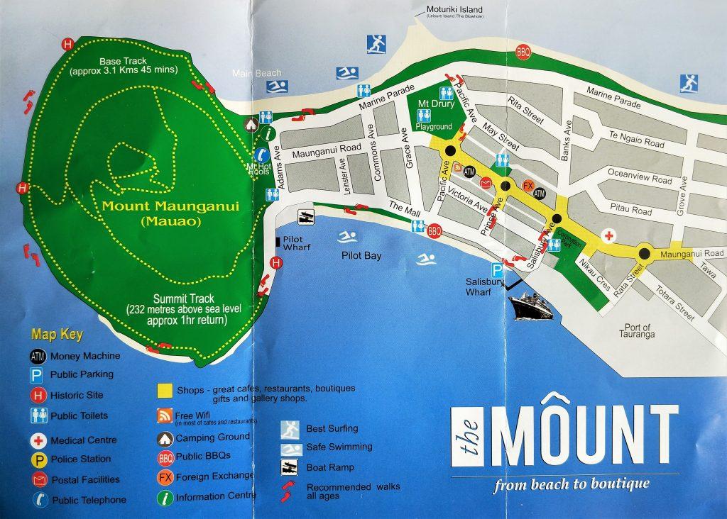 市區到火山地圖 (Mount Maunganui)