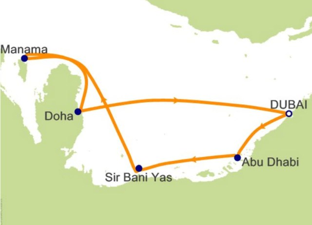 中東阿拉伯郵輪航程圖