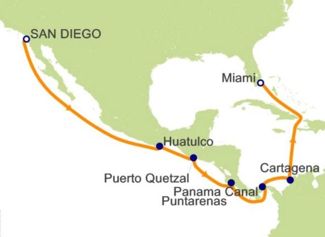 環遊世界郵輪 - 巴拿馬運河航程圖