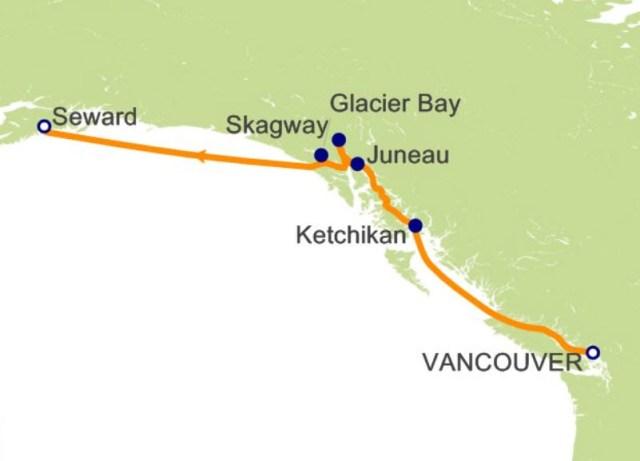 環遊世界郵輪 - 阿拉斯加航程圖
