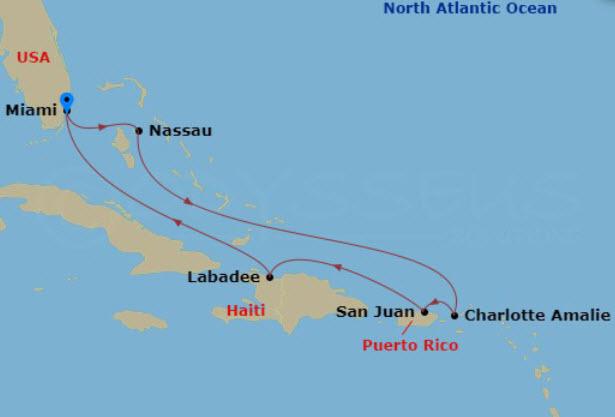 世界最大郵輪 - 海洋魅麗號東加勒比海航行圖範例