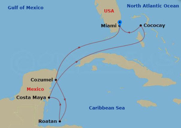 海洋交響樂號加勒比海航行圖範例