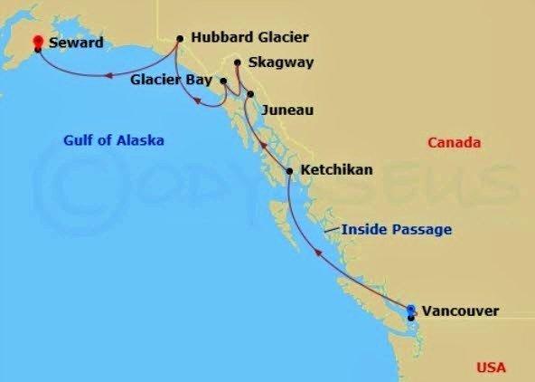 阿拉斯加郵輪 - 單程北上郵輪航線圖例