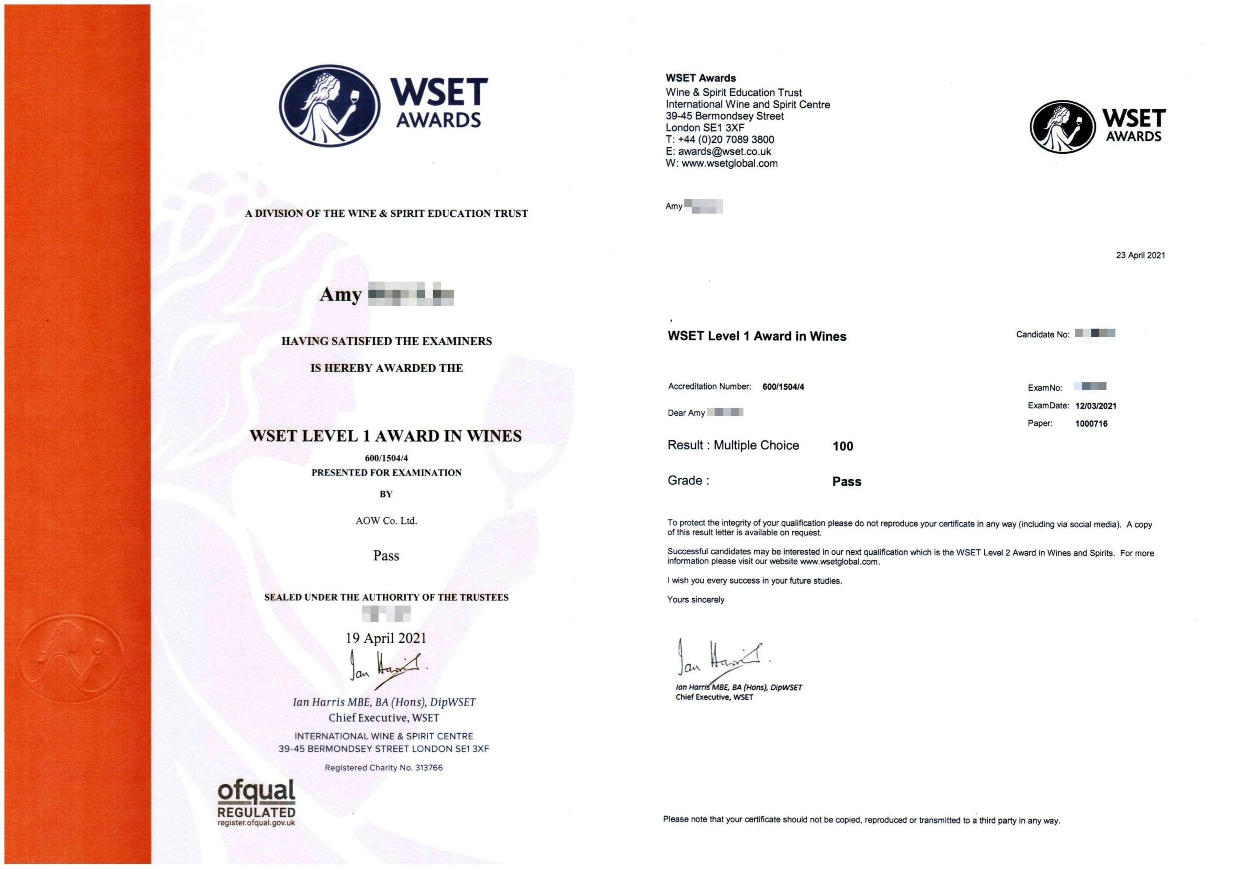 WSET Certificate - Amy