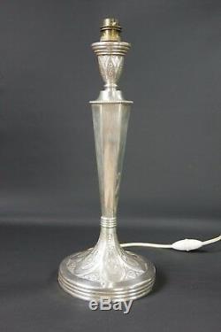 pied de lampe art deco argent fourre h 39 cm