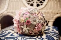 flower wedding broach white pearl ivory teal turquiose hydrangea silk