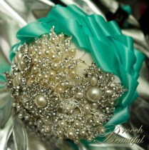 Tiffany Blue Turquoise Brooch Bouquet Cascading Ribbon 9