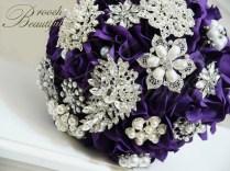 Purple Velvet Rose Brooch Bouquet 5