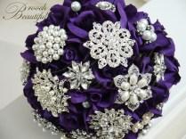 Purple Velvet Rose Brooch Bouquet2