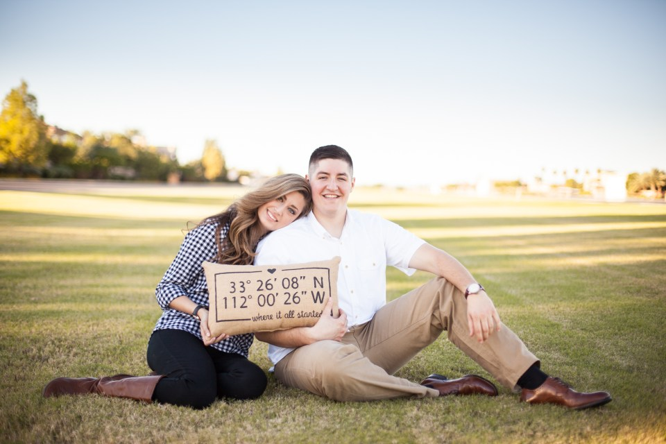engagement photo prop plane coordinates pillow