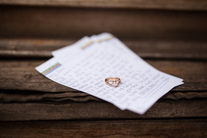 wedding day notes with rose gold wedding rings