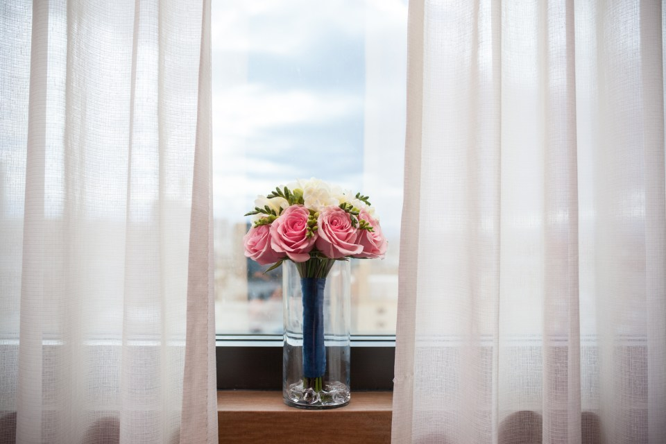 bridal bouquet on window sill
