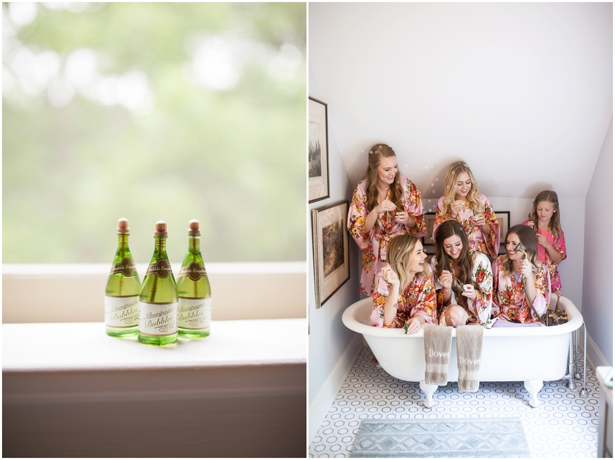 mini champagne bubble bottles and bridesmaids blowing bubbles in a claw foot bath tub
