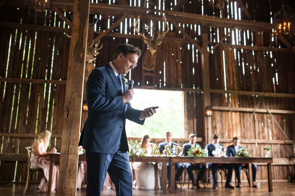 speeches during wedding reception in the barn of The Farm at Dover
