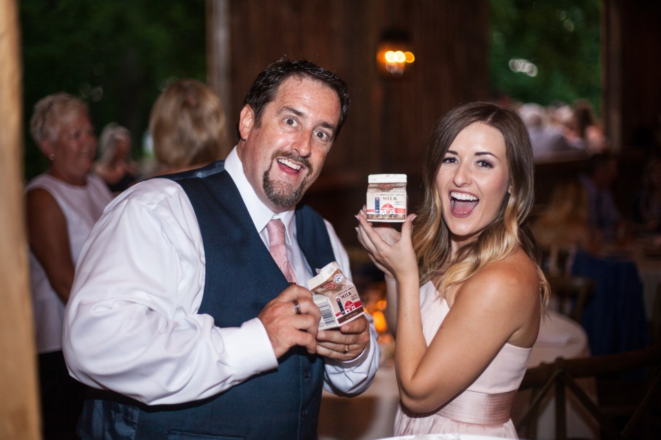 wisconsin milk and cookies bar during wedding reception at the farm at dover wedding venue