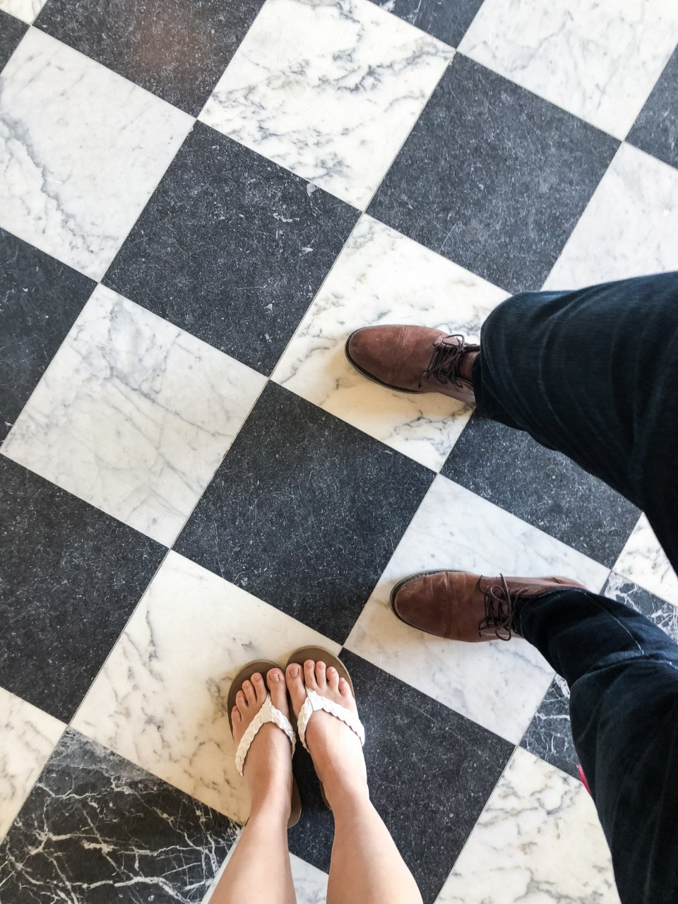 Checkered floors in the Palace of Versailles Paris France