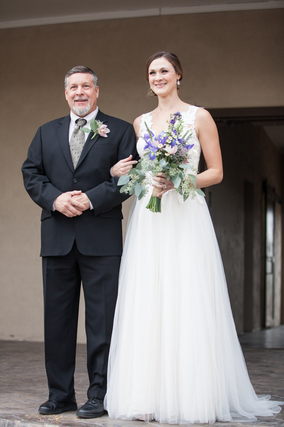 bride and her father on wedding day