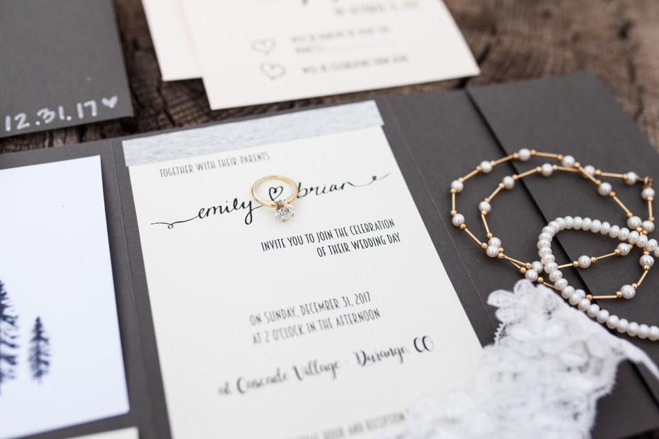 wedding ideas, wedding suite stationery with engagement ring
