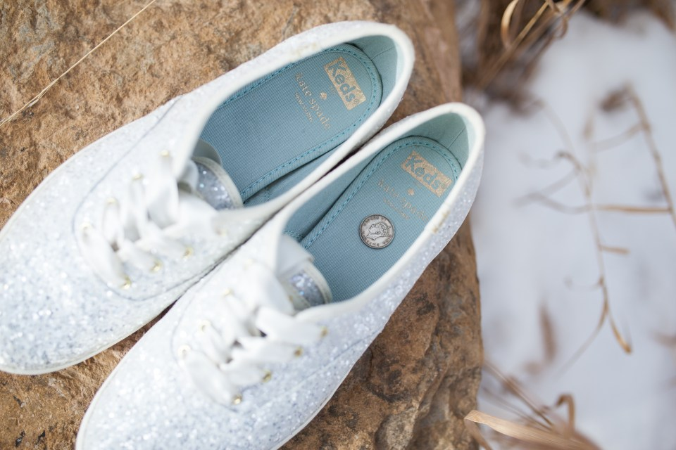 durango colorado winter wedding kate spade wedding keds shoes with six pence in her shoe