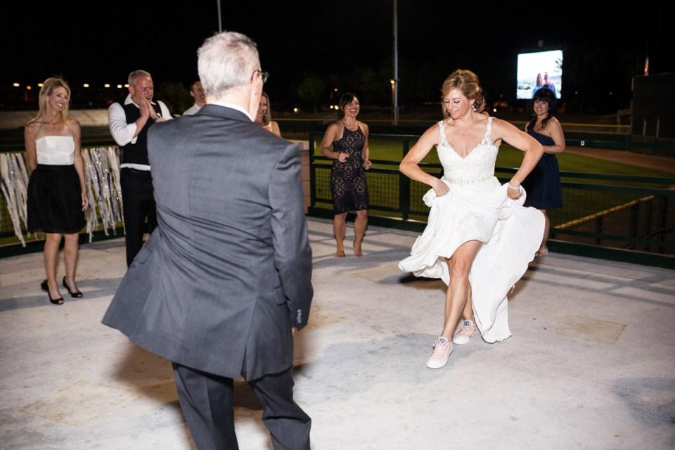 bride and groom dancing at wedding reception