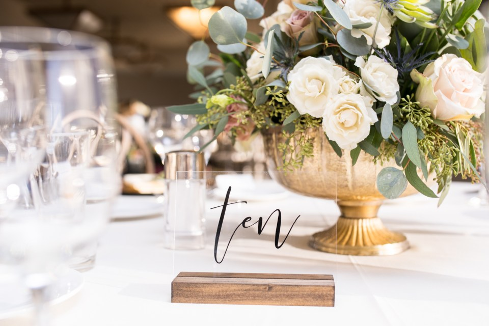 wedding reception calligraphy table numbers