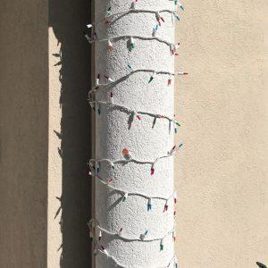 Christmas lights on columns