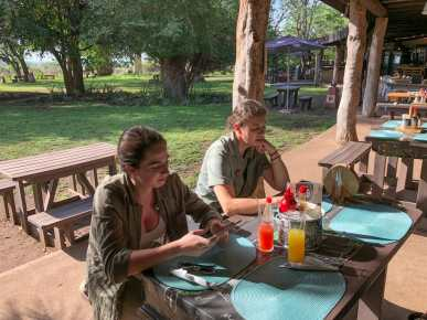Eating breakfast at one of the SANPark camps
