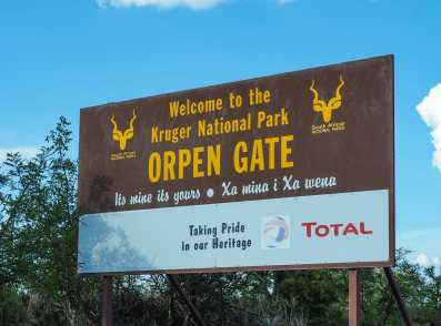 Entering the gate into Kruger