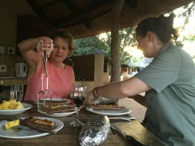 Eating our braai with Mary-Anne