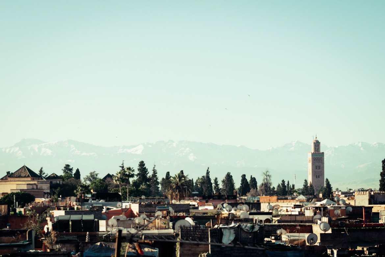Atlas Mountains behind Marrakech Morocco