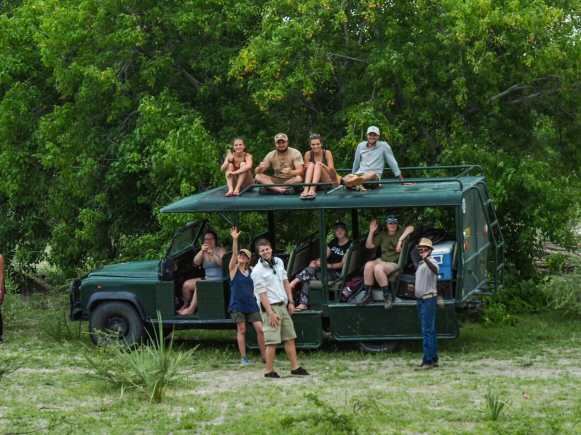 The gang back at the safari truck