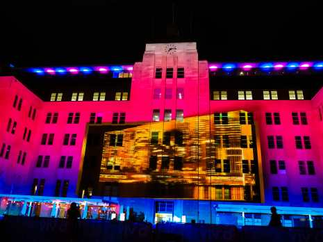 Light display on the MCA at The Rocks