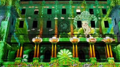 The façade of Customs House fully animated for Vivid