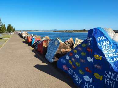 Walking along the Port Macquarie breakwall