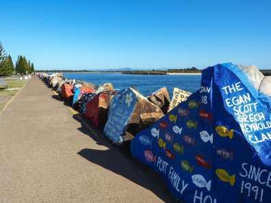 Walking along the Port Macquarie breakwall