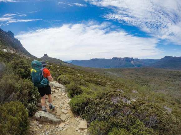 Callum hiking to Mt Ossa