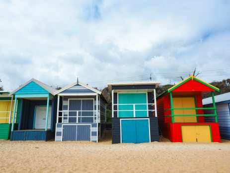 Colourful bathing boxes at Mount Martha beach