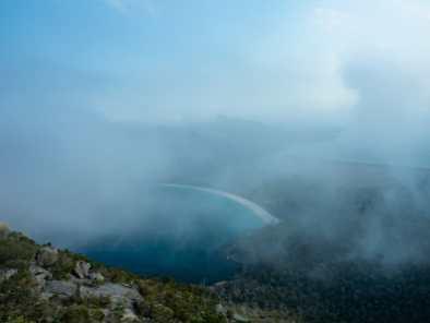 Incredibly foggy views of Wineglass Bay