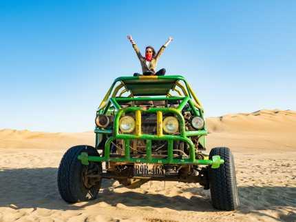 Zipping around Huacachina on a dune buggy