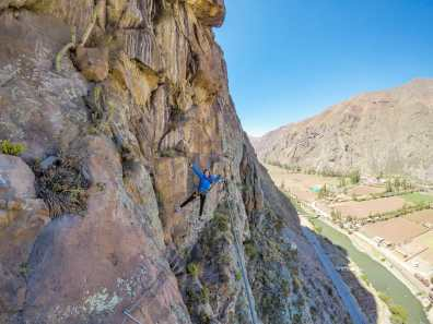 Crossing the rock on a wire