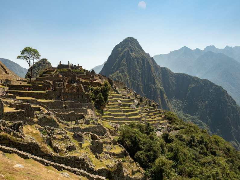 Huayna Picchu behind Machu Picchu ruins