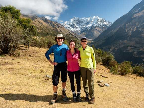 Me, dad & Eileen at the start of the Salkantay Trek