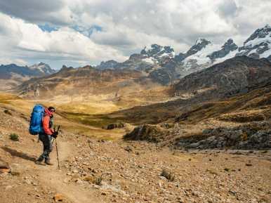 Linda hiking towards camp