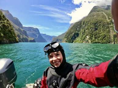 Rugged up in a dry suit for Milford Sound
