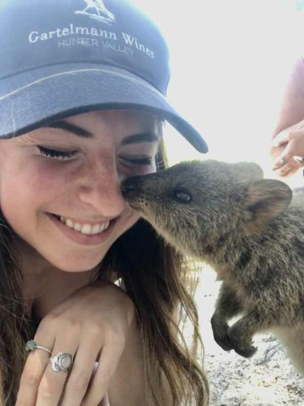 Girl and Quokka selfie Rottnest Island Perth Western Australia